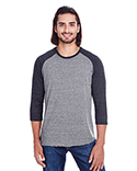 302G Threadfast Unisex Triblend 3/4-Sleeve Raglan