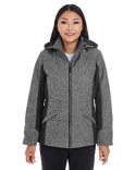 DG710W Devon & Jones Ladies' Midtown Insulated Fabric-Block Jacket with Crosshatch Melange